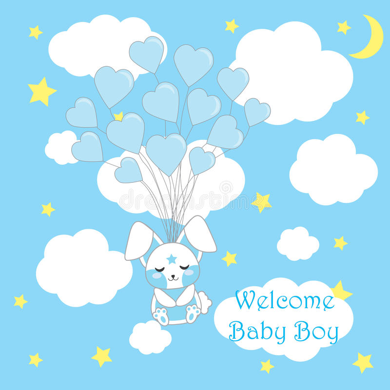 Baby shower card with cute baby rabbit fly with love balloons on blue background for baby boy nursery wall, vector cartoon. Baby shower card with cute baby stock illustration