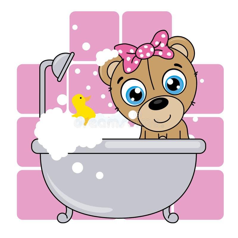 Baby shower card. Cute cartoon bear in the bathroom stock illustration