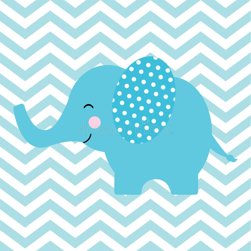Baby shower card with cute elephant on chevron background vector illustration