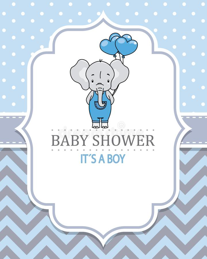 Baby boy shower card. Cute elephant with heart-shaped balloons. stock illustration
