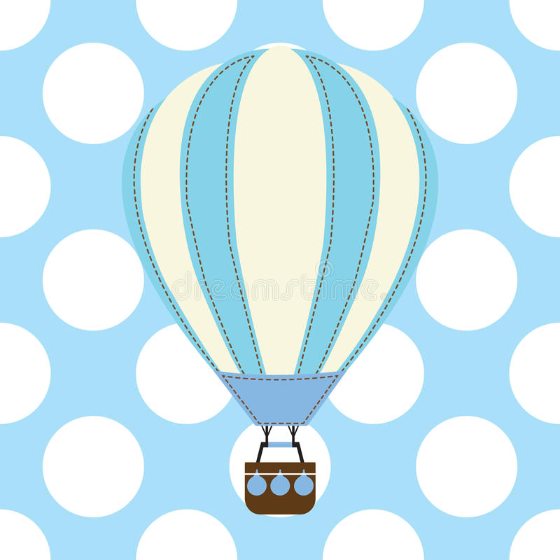 Baby shower card with cute hot air balloon on blue background vector illustration