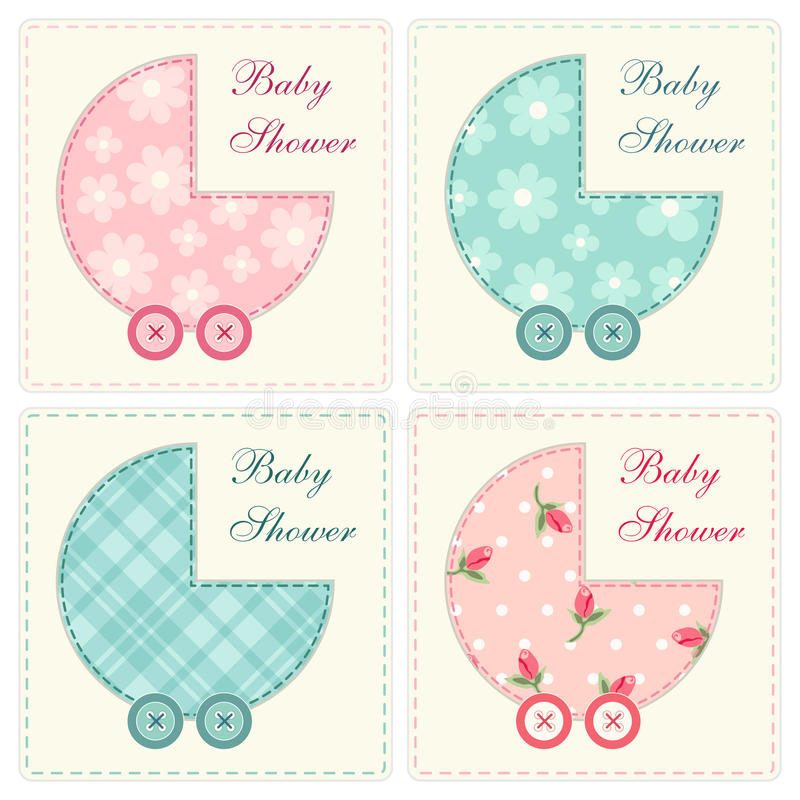 Baby shower card 4. Cute set of baby shower cards as retro applique in shabby chic style royalty free illustration