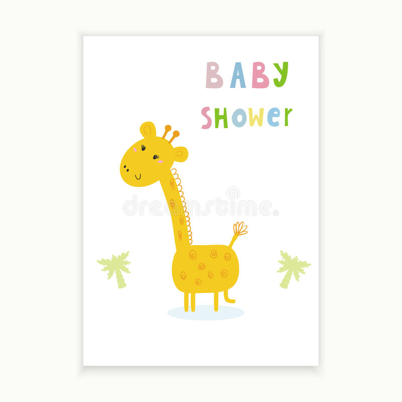 cute hand drawn card with giraffe printable template
