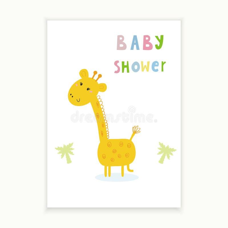 Baby Shower Card Design. Cute Hand Drawn Card With Giraffe ...