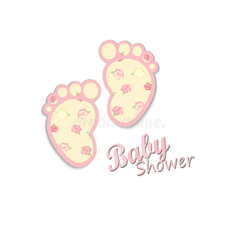Baby shower card design. Shabby chic. cute steps royalty free illustration