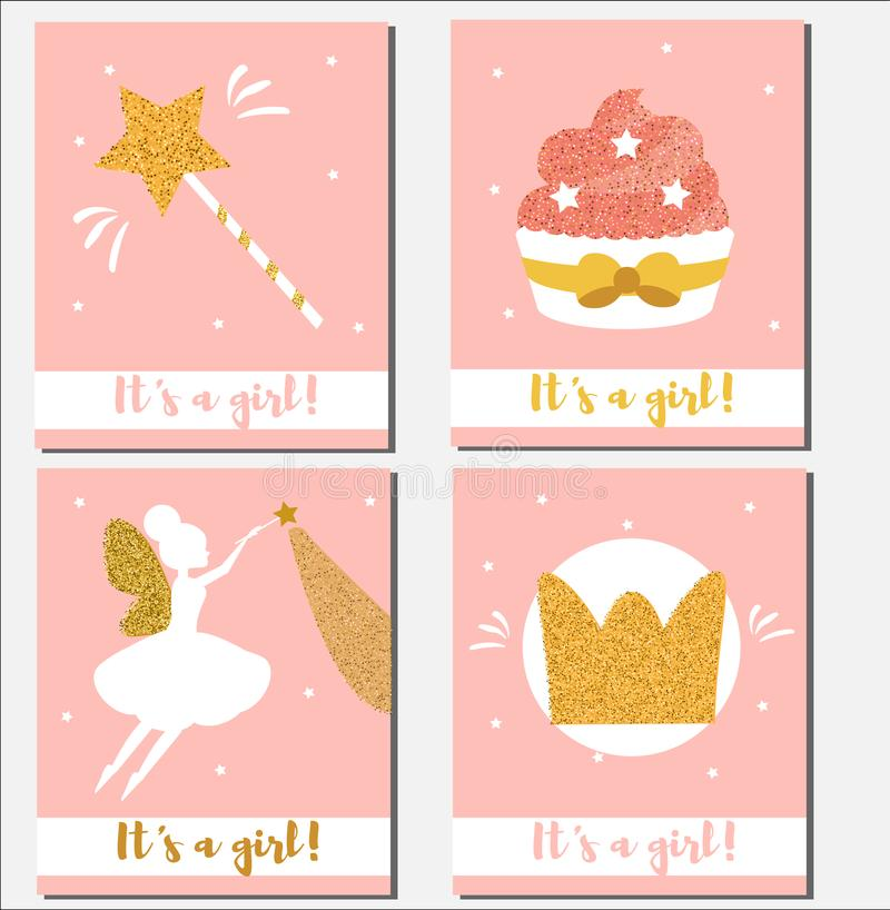 Baby shower card design template. It`s a girl cards with glittering elements cupcakes, magic wand, fairy, crown stock illustration