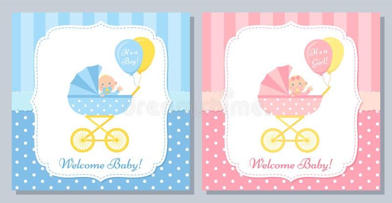 Baby Shower card design. Vector illustration. Birthday template invite. Baby Shower card. Vector. Baby boy and girl invite banner. Blue, pink design invitation vector illustration