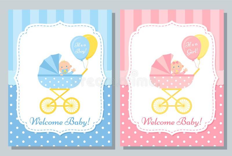 Baby Shower card design. Vector illustration. Birthday template invite. Baby card. Vector. Baby Shower boy and girl invite banner. Blue, pink design invitation stock illustration