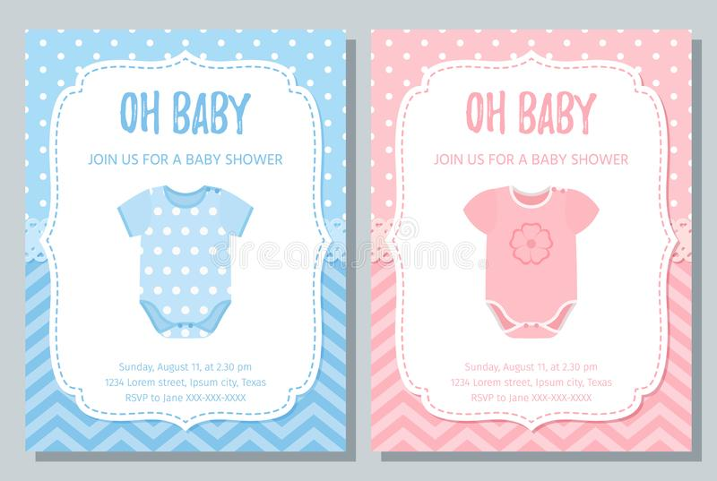 Baby Shower card design. Vector illustration. Birthday template invite. Baby Shower invite card. Vector. Baby boy and girl blue pink design. Welcome template stock illustration