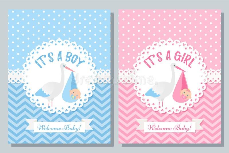 Baby Shower card design. Vector illustration. Birthday template invite. Baby Shower invite card. Vector Baby boy, girl design. Cute blue, pink banner. Birth royalty free illustration