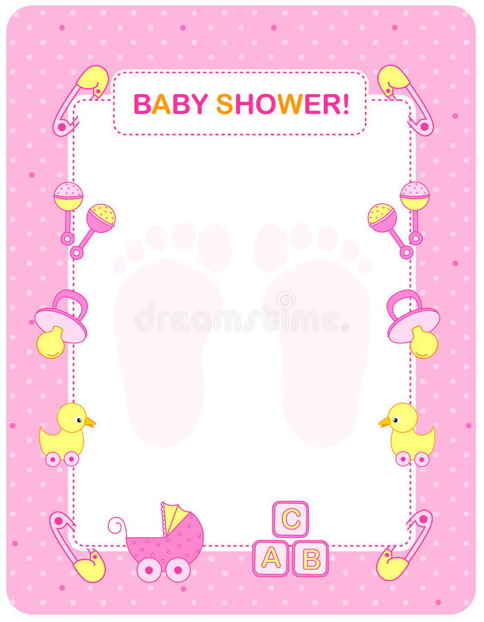 Free Baby Shower Card For Girls Royalty Free Stock Photography - 21619307