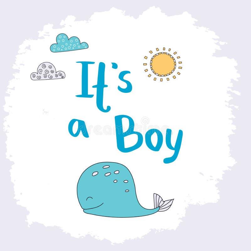 Baby shower card. Gender reveal. It is a boy vector illustratio stock illustration