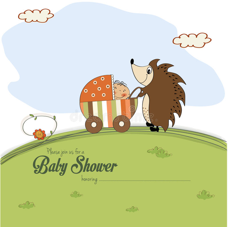 Baby shower card with a hedgehog that pushes a stroller with baby. Vector illustration vector illustration