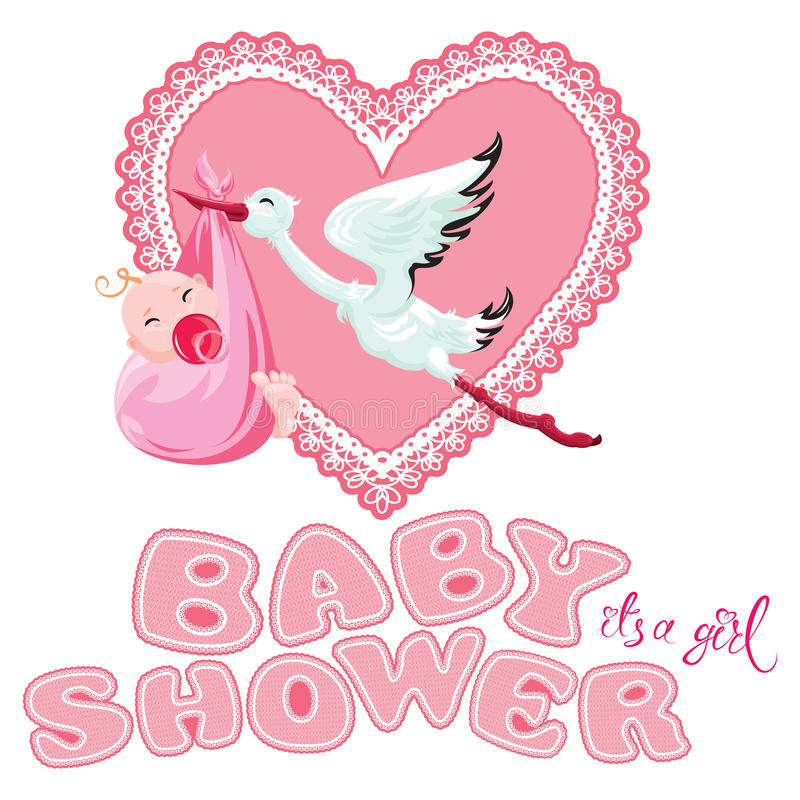 Baby shower, card, invitation, etc. Stork with girl, pink lace h vector illustration