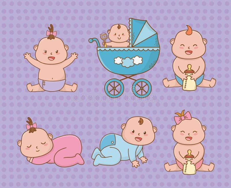 Baby shower card with little babies. Vector illustration design stock illustration