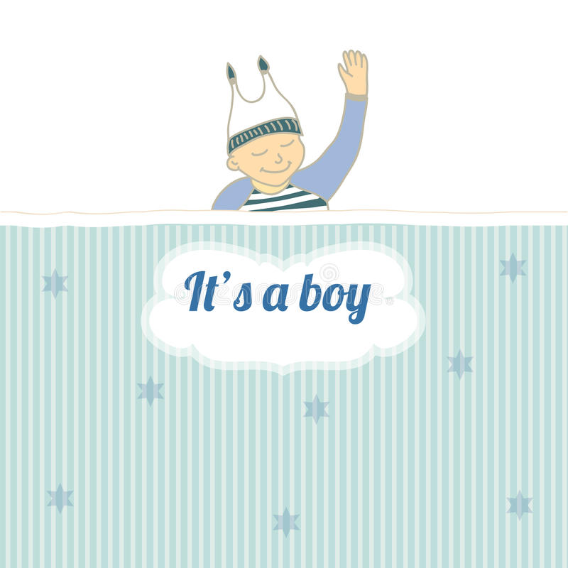 Download Baby Shower Card With Little Boy Sleep Stock Vector - Illustration of childish, nestling: 28476396