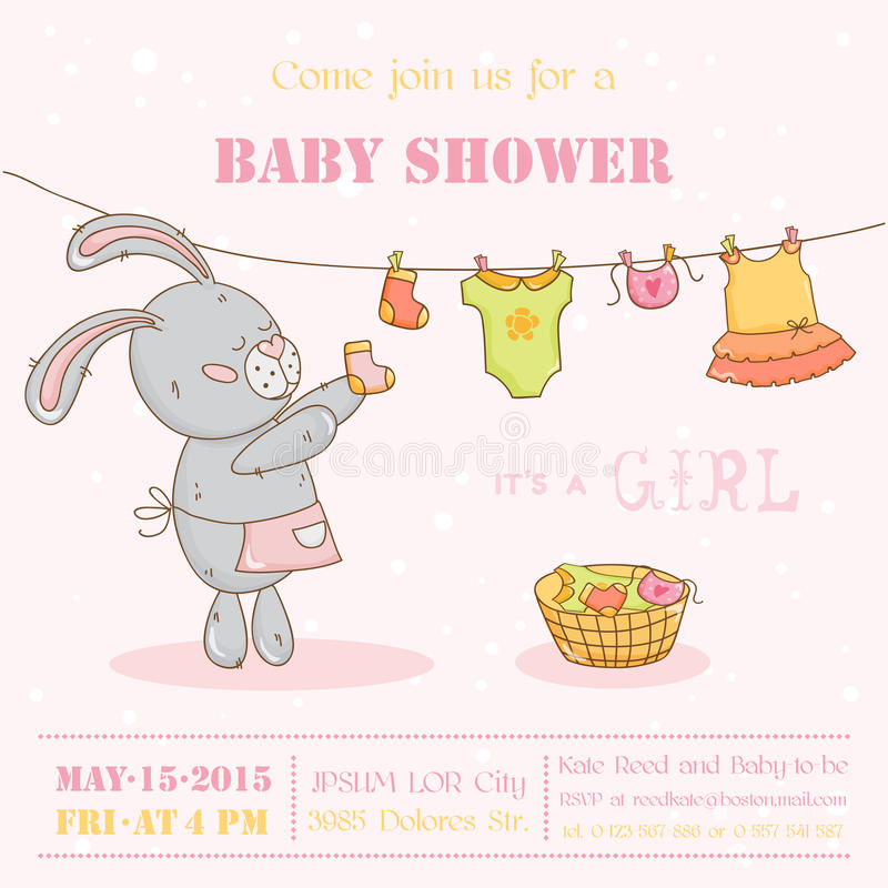 Baby Shower Card with Mommy Bunny vector illustration