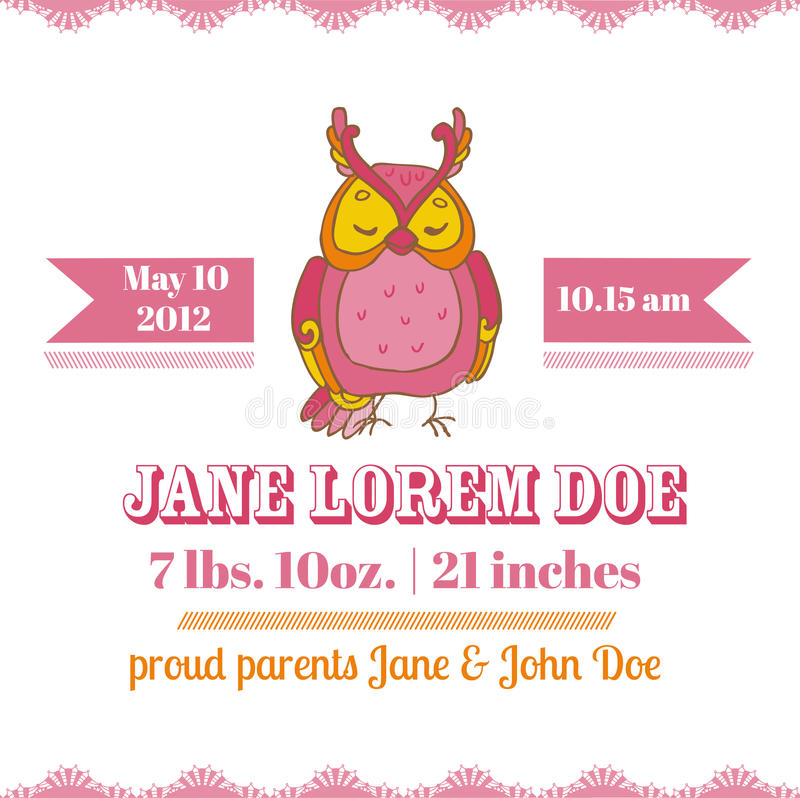 Download Baby Shower Card - Owl Theme Stock Vector - Image: 33501084