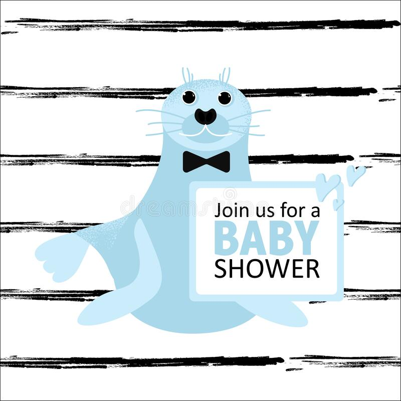Baby Shower card with seal animal. Invitation for boy party. Banner with cute wild sea animal. Vector Illustration royalty free illustration