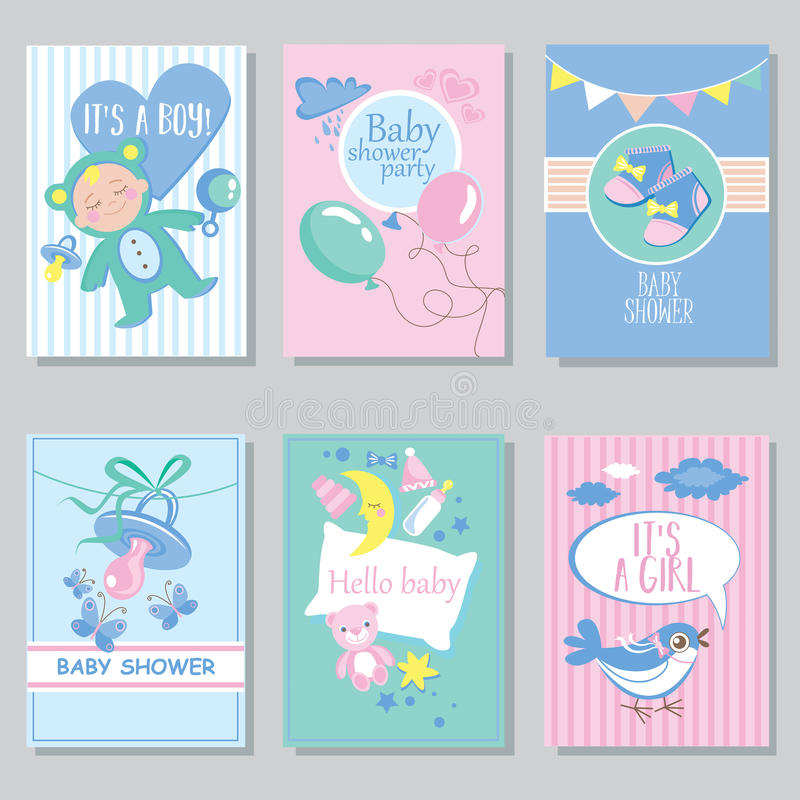 Baby shower card set for boy for girl Happy birthday party it's a boy it's a girl Newborn toddler celebration greeting or. Invitation card poster vector illustration