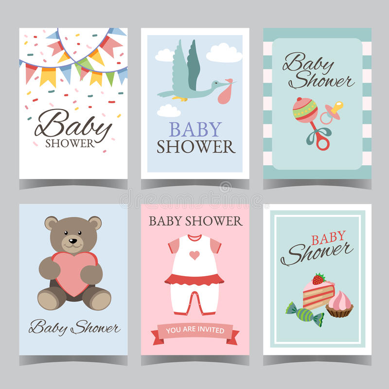 Baby shower card set for boy for girl Happy birthday party its a boy its a girl invitation card poster vector vector illustration