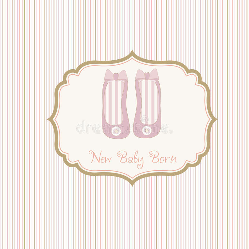 Download Baby Shower Card With Shoes Stock Vector - Illustration of girl, drawing: 18454589