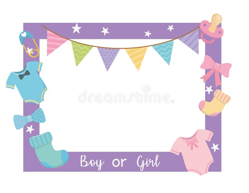 Baby shower card with sqaure frame and accessories. Vector illustration design royalty free illustration