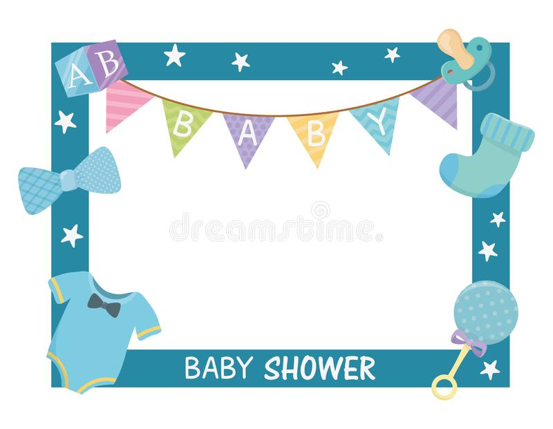 Baby shower card with sqaure frame and accessories. Vector illustration design stock illustration