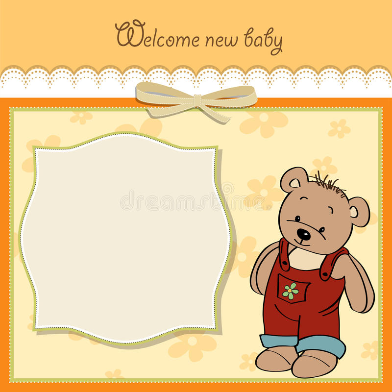Download Baby Shower Card With Teddy Stock Image - Image: 25469791