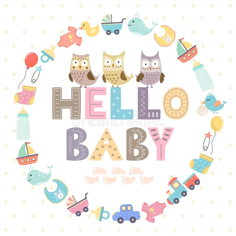 Baby shower card with a text Hello baby stock illustration