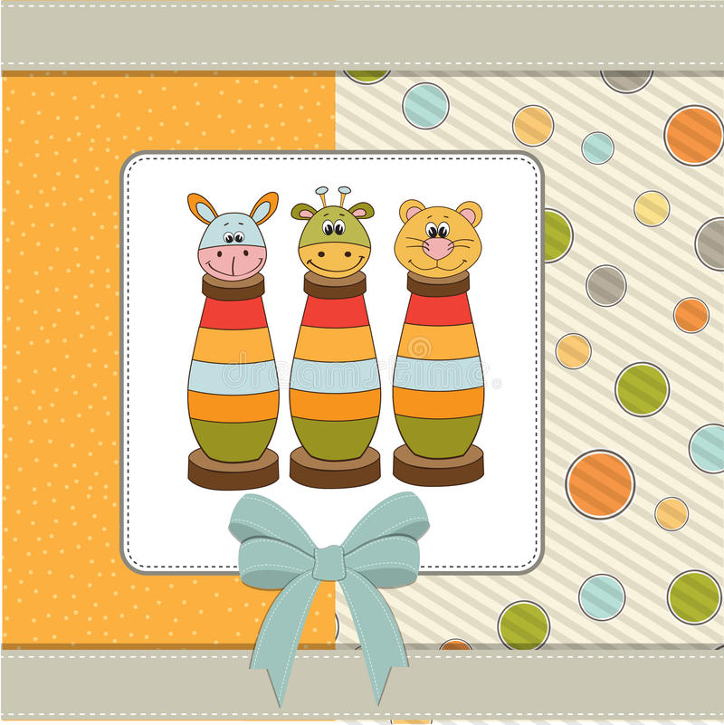 Baby shower card with toys. Baby shower card with wood toys stock illustration