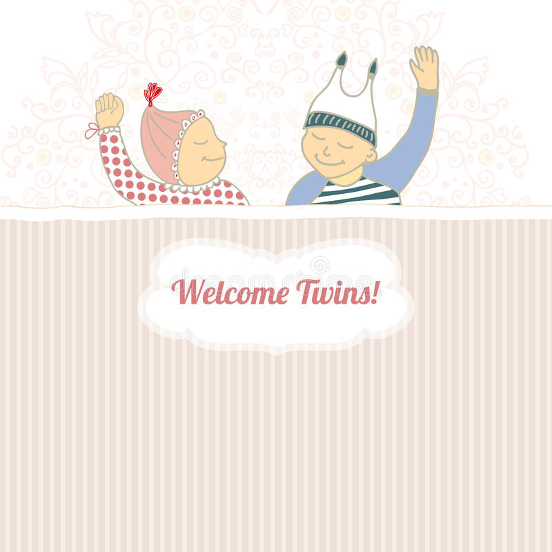 Baby shower card with twins little boy and girl,
