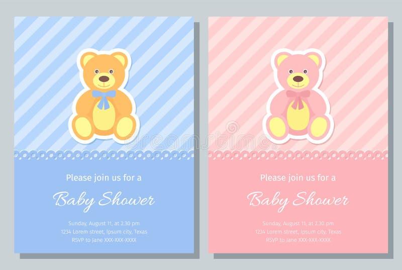 Baby Shower card design. Vector illustration. Birthday template invite. Baby Shower card. Vector. Baby boy, girl invite. Birth party background. Cute blue, pink vector illustration