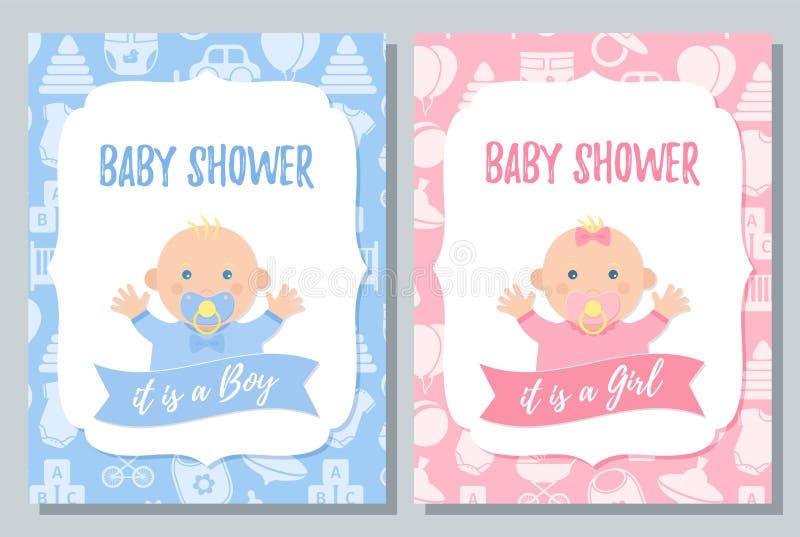 Baby Shower card design. Vector illustration. Birthday template invite. Baby Shower card. Vector. Baby boy, girl invite design. Pink, blue banner. Welcome royalty free illustration