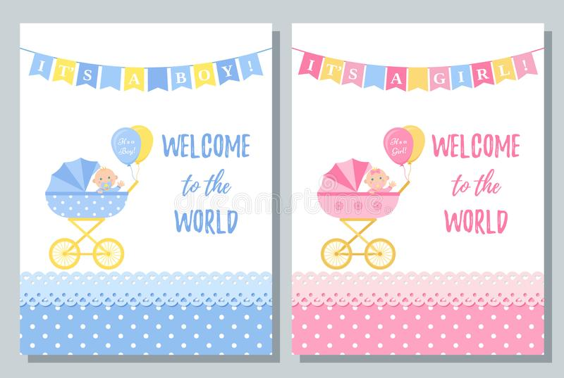 Baby Shower card design. Vector illustration. Birthday template invite. Baby Shower card. Vector. Cute pink and blue invite banner. Baby boy, girl design with stock illustration
