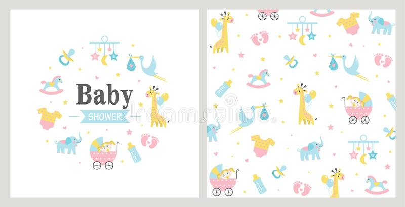 Baby Shower card. stock illustration