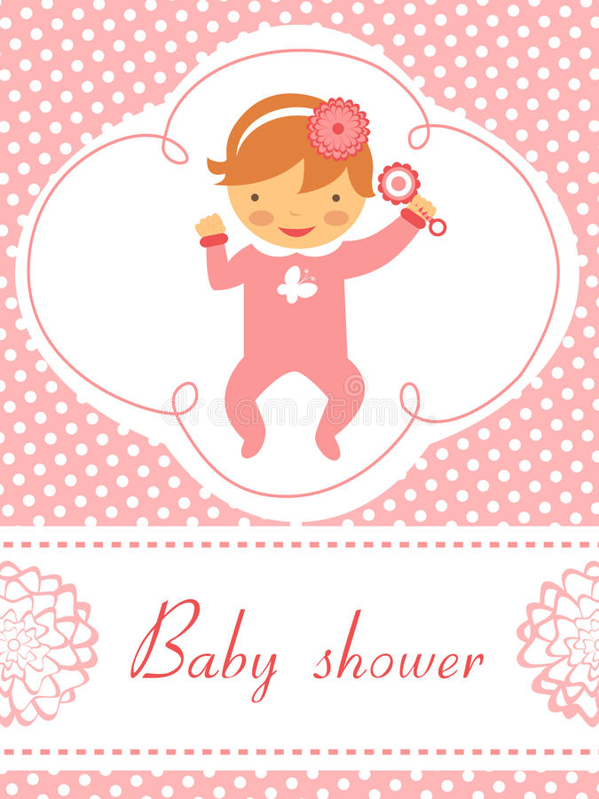 Free Baby Shower Card With Baby Girl Holding Rattle Stock Photos - 28924093