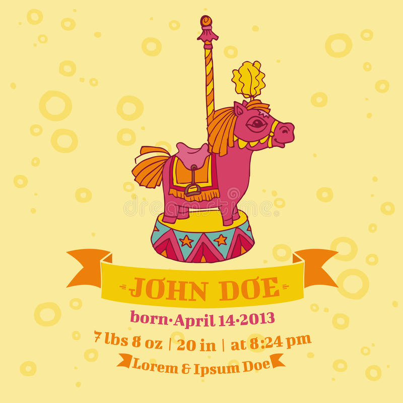 Baby Shower Cards - Horse Theme. Baby Shower or Arrival Cards - Horse Theme - with place for your text - in vector illustration