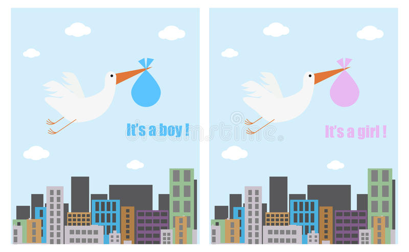 Baby shower cards vector illustration
