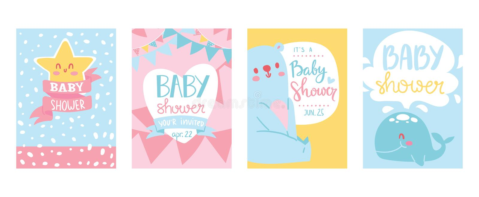 Baby shower cards vector illustration set. Cute invitation cards for newborn boy and girl party. Invitation greeting for royalty free illustration