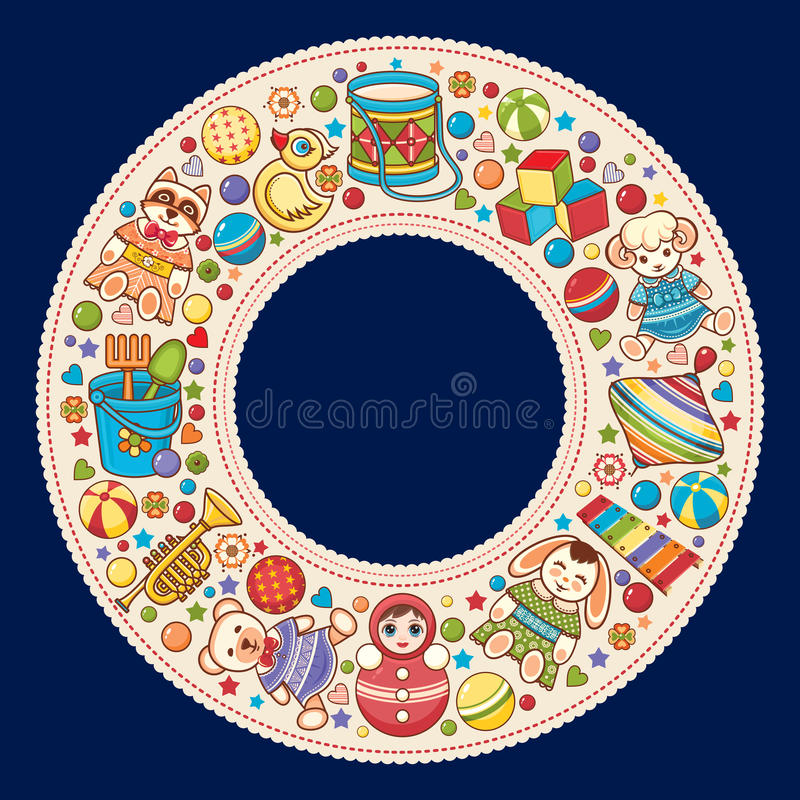 Baby shower. Cartoon style. Invitation card. Colorful template. Round frame. vector illustration