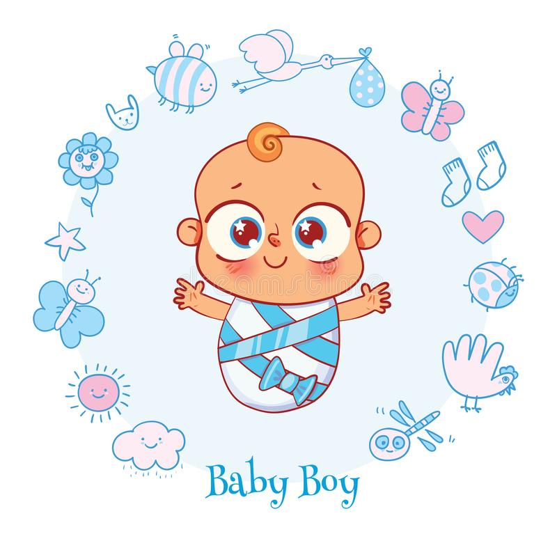 Baby shower celebration greeting and invitation card. Welcome baby. Invite Greeting card it is a boy. Happy birthday, holiday, baby shower celebration greeting royalty free illustration
