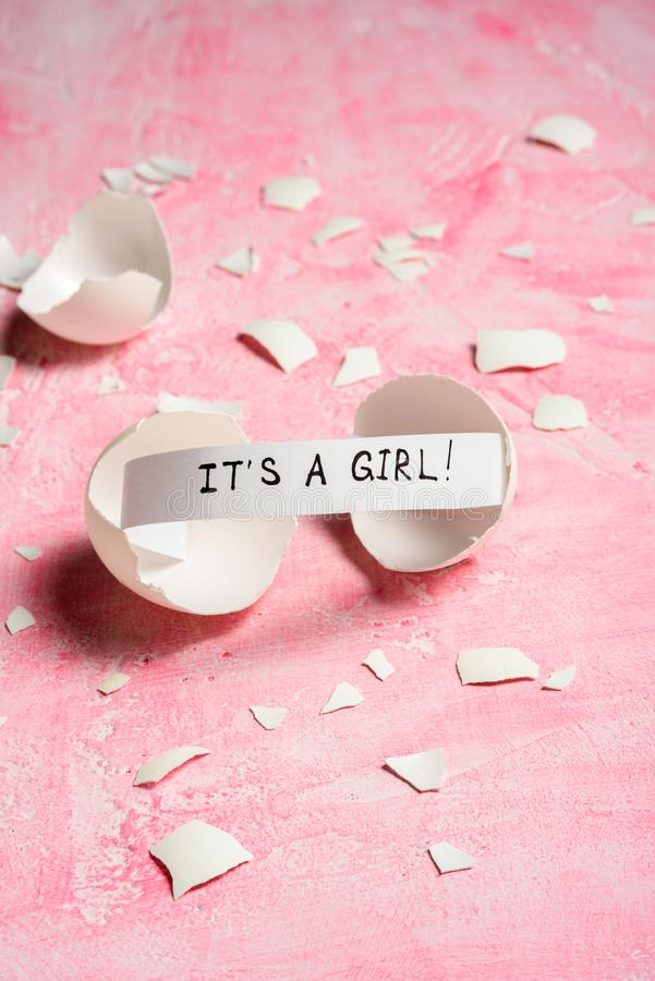 Baby shower concept. Girl, pink stock photography