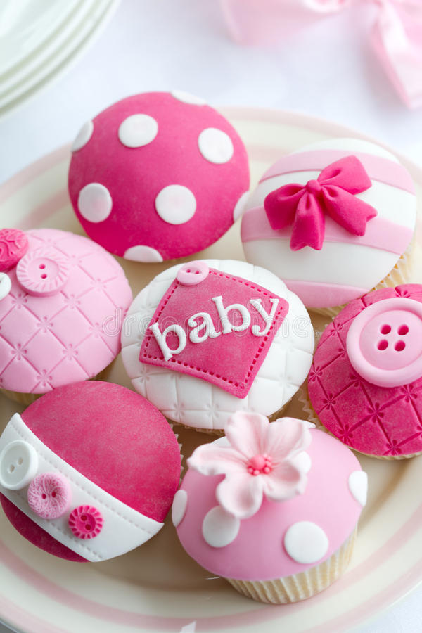 Baby shower cupcakes stock image