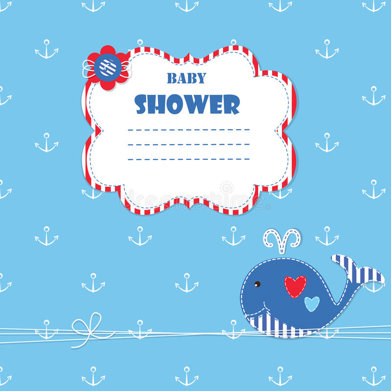 Baby shower with cute whale vector illustration