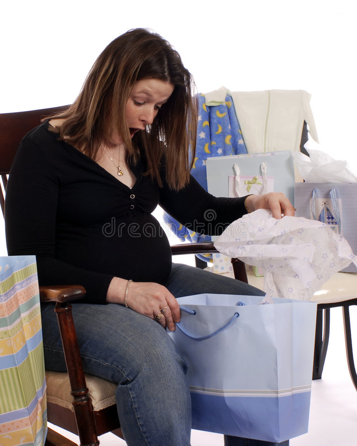 Download Baby Shower Delight stock image. Image of brunette, bags - 3063097