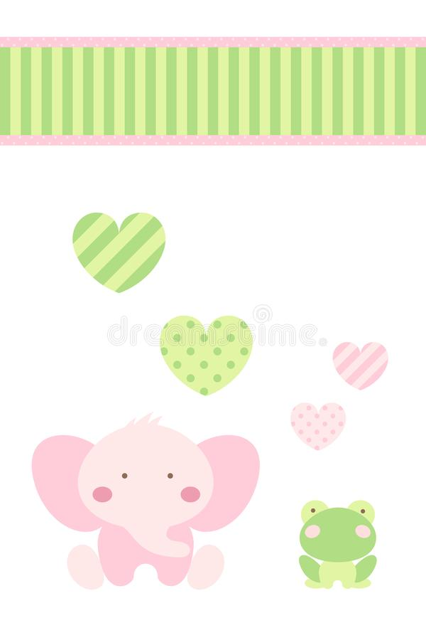Baby shower - den lyckliga rosa elefanten och den gröna grodan firar förälskelse under hjärta och band stock illustrationer
