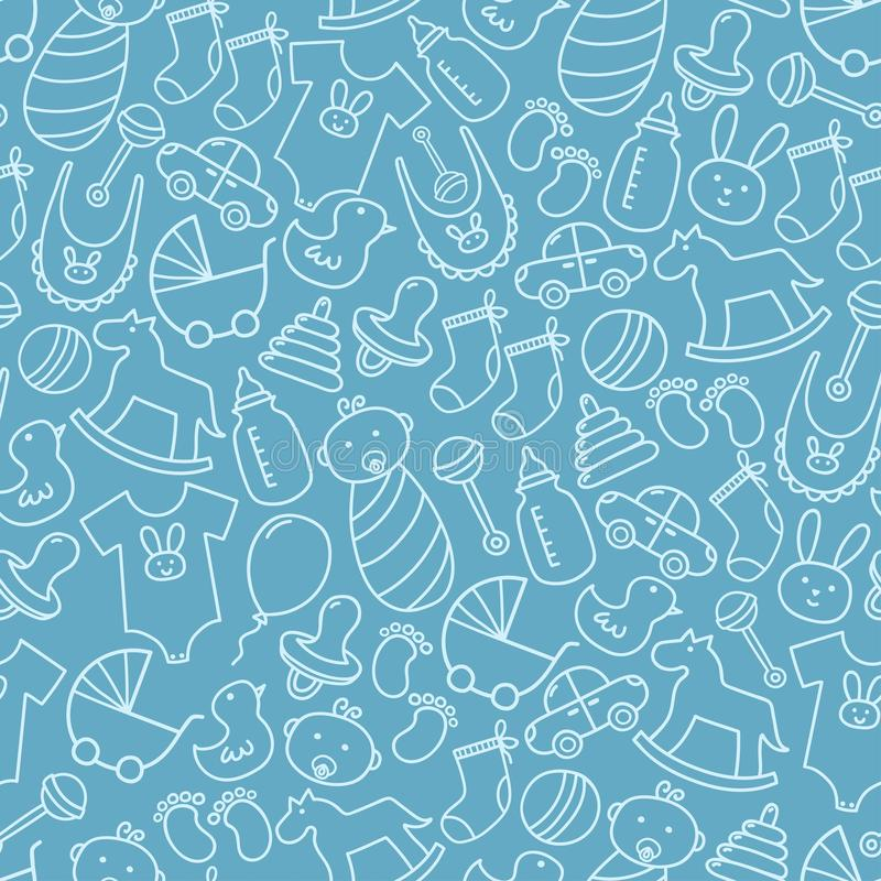 Baby shower doodle seamless pattern. Blue background royalty free illustration