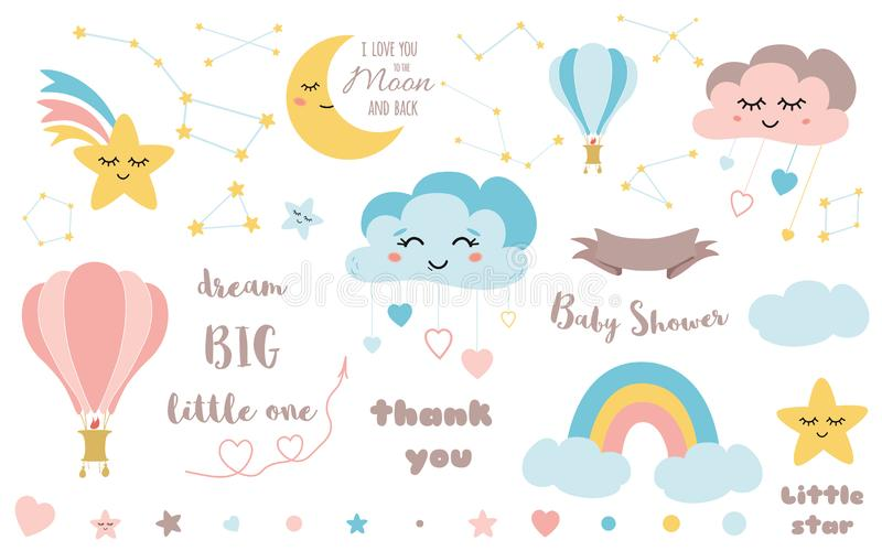 Baby shower elements Cute design element for nursery Moon cloud star rainbow ribbon icon vector set stock illustration
