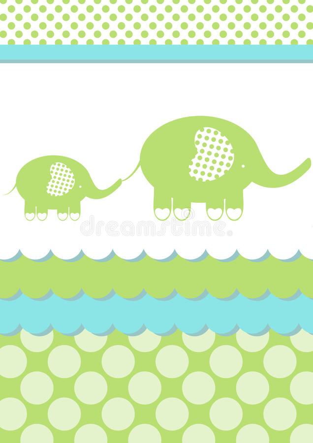 Baby Shower Elephant Invitation Card. Invitation card with mom elephant and son. Space to put text inside the water or above elephants stock illustration